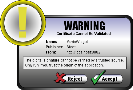 WidgetFX Warning Dialog